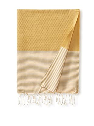Fouta Bath Towel, Honey Striped Yellow