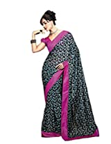 Status Black color printed saree.