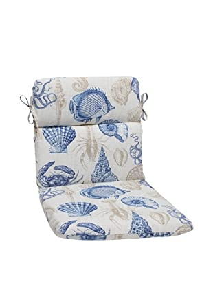 Pillow Perfect Outdoor Sea Life Marine Rounded Corner Chair Cushion, Blue/Tan