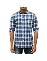 John Players Men's Cotton Slim Fit Shirt (Blue_44)