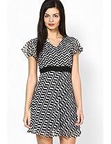 # Ecstatic Black & White Geo Skater Dress