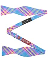 Original Penguin Men's Quay Plaid To-Be-Tied Bowtie, Teal, One Size