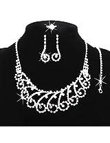 Silver Plated Austrian Diamonds Flower Jewellery Set by Beora