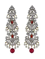 chaahat fashion jewellery Red and White Color Stone Earrings