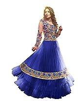 Vibes Women Georgette Salwar Suit Dress Material (V156-1004 _Blue _Free Size)