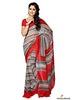 Georgette Printed Saree In Brown and Red Colour