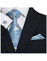 Landisun 66H Paisleys Mens Silk Tie Set: Tie+Hanky+Cufflinks Blue, 3.75
