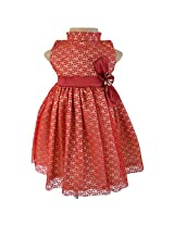 Faye Dotted Maroon & Gold Dress1-2y