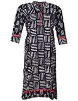 Bunkaari India Women's Cotton Regular Fit Kurti (00LK 21_46, Black and white, 46)