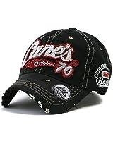ililily Distressed Vintage Pre-curved Cotton embroidered logo Baseball Cap with Adjustable Strap Snapback Trucker Hat - 507-4,Black, Medium Size (Adjustable) 7 1/8 - 7 1/4
