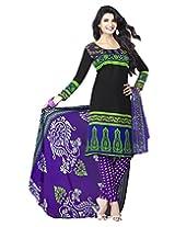 Jevi Prints Black & Purple Art Crepe Dress Material with Dupatta