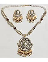 DollsofIndia Maroon and White Bead and Stone Studded Necklace with Earrings - Stone, Bead and Metal - White