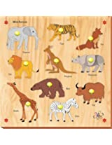 Kinder Creative KCS 06 10 Wild Animals with Knobs, Multi Colour