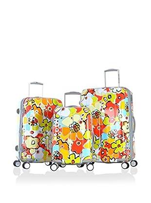 Olympia USA Blossom 3-Piece Hardside Luggage Set, Yellow