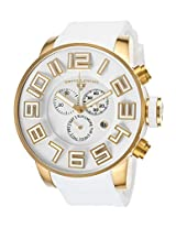 Airbourne Chronograph White Silicone And Dial Gold-Tone Case (30425-Yg-02)