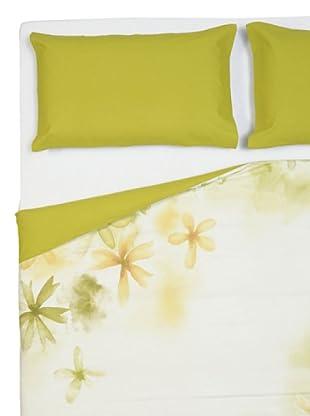 Cartoons Home Parure Copripiumino Foglie (bianco verde giallo)