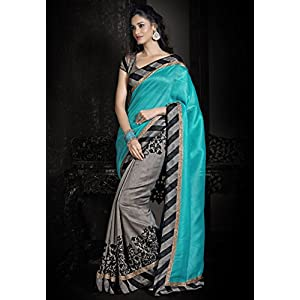 Aqua Blue and Dark Grey Art Silk Saree with Blouse
