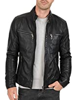 Iftekhar Men's Pure leather Jacket - Black - (Iftekhar04 - S)
