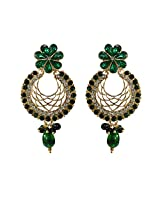Unicorn Earring Elegant Jali with Kundan and Pearl in Zinc for Women (Green) - UEKMER5002G