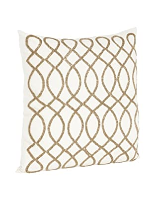 Saro Lifestyle Bronze Swirl Design Beaded Pillow