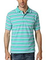 Peter England Mint Hued Striped Polo T Shirt