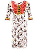 Kraft Corridor Women's Cotton Kurti (AUG041_XL-42, Brown Print, XL-42)
