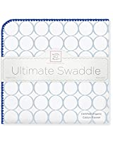 SwaddleDesigns Organic Ultimate Receiving Blanket, Mod Circles on Ivory with Jewel Tone Trim, Pastel Blue