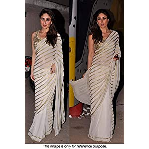 Bollywood Replica Kareena Kapoor Pure Georgette Saree In Off White Colour 269