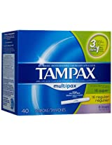 Tampax Tampons, Cardboard, Multipax 40 tampons