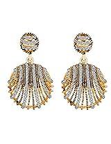 Glitz Fahsion Gold Plated Vintage Rhinestone Stud Geometry Round Punk Drop Earrings for Women
