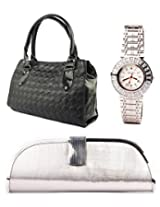 Fidato Combo Of Women Handbag Clutch And Watch FD241