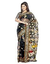 B3Fashion Bengal Handloom Traditional Black Soft Silk Blend Saree