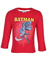 Cucumber Full Sleeves T-Shirt With Batman Print - Red
