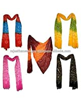 Famacart Women's Cotton Bandhej Dupatta Party wear wrap 5 Pcs