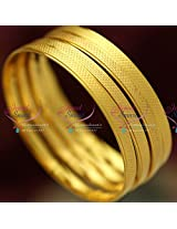 2.6 Size 4 Pieces Thin Casual Wear Mat Finish Gold Plated Design Bangles Online