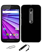 TCA Matte Motorola Moto G3 Moto G 3rd Gen Rubberized Finish Hard Case - Black With Mini Stylus + Eject Pin