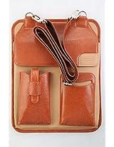 Saco Tablet Sleeve With Pocket and shoulder strap suites upto 10.1 inch Tablets Brown - 2 Pockets