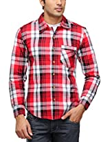 Yepme Men's Checks Red Cotton Shirt- YPMSHRT0307_44