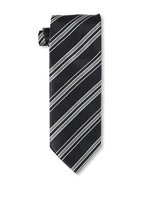 Massimo Bizzocchi Men's Rib Striped Tie, Grey/Black