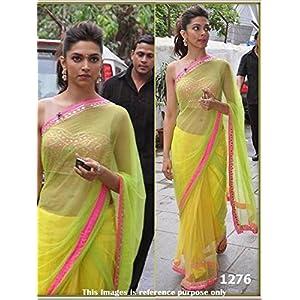 Deepika Padukone Neon Bollywood Designer Saree