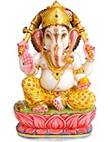 Exotic India Kamalasana Ganesha Wearing Printed Yellow Dhoti - White Marble Statue