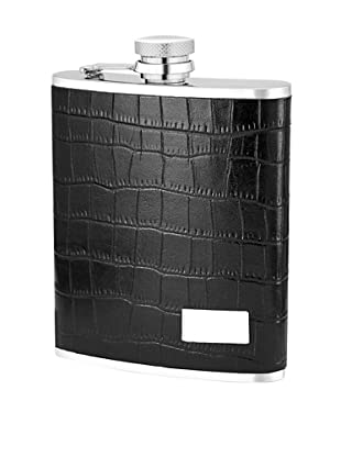 Wilouby Gift Set with 6 oz. Flask and Cigar Tube in Genuine Leather Black Crock with Funnel
