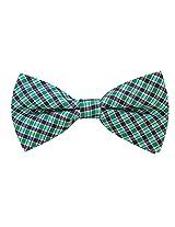 Scott Allan Men's 100% Silk Checkered Plaid Bow Tie - Blue/Green/Navy Blue