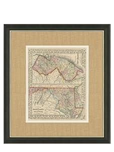 "Mitchell-Antique Map of MD, NJ & DE, 1860's-1870's, 21"" x 23"""