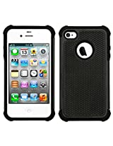 CUBIX [Football Series] Dual Layer Hybrid Shock proof Case Cover with air cushion for Apple iPhone 4 (Black)