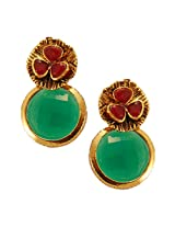 Habors Gold Plated Red & Green Mysha Earring for Womens