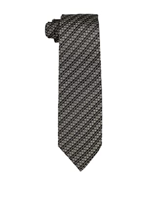 Valentino Men's Striped Logo Tie, Dark Grey/Black