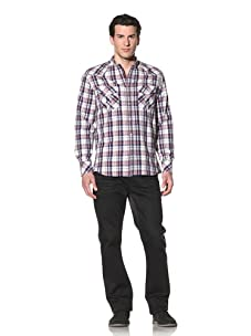 French Connection Men's Gibbet Check Long Sleeve Shirt (Post)