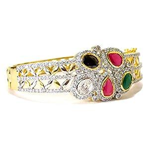 Daamak Jewellery White Stone With Multi Color Stones Bangle