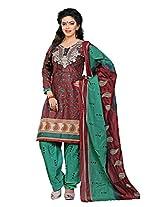 Divisha Fashion Maroon and Green Cotton Printed Churiddar Suit with Dupatta